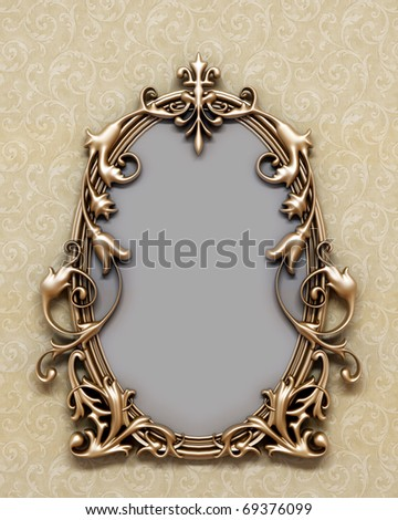 bronze antique frame on the wall - stock photo