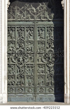 Bronze bas-reliefs of milan cathedral portal