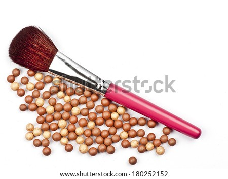 Bronze beads blush with makeup brush isolated on white background with space for your text - stock photo