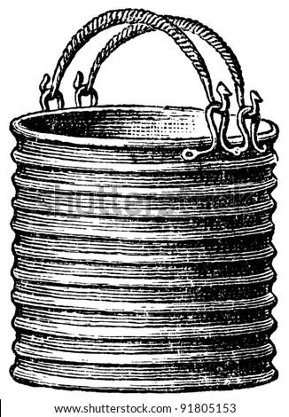 bronze bucket, Halstatt tomb, Austria - an illustration of the encyclopedia publishers Education, St. Peterburg, Russian Empire, 1896 - stock photo