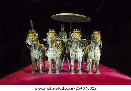 Bronze chariot of emperor in Xian terracotta army museum, 5 February 2015, Prague. - stock photo