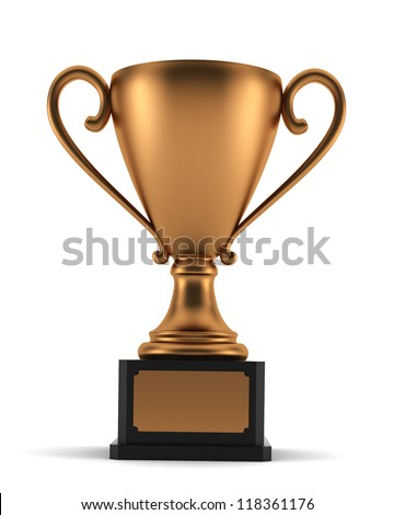 bronze cup - 3d render on white - stock photo