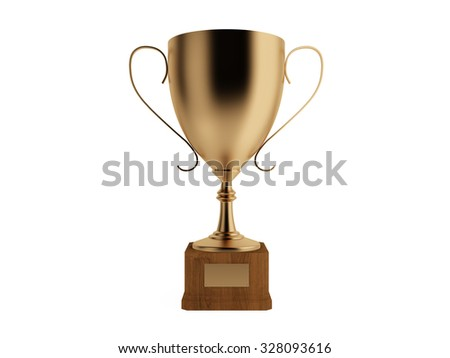 Bronze cup for third place, isolated.Clipping path included - stock photo
