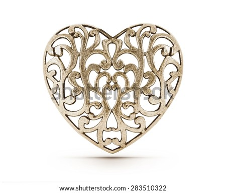 Bronze decorative hollow heart on isolated background - stock photo