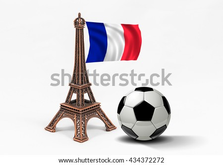 Bronze Eiffel Tower model with french flag and soccer ball, isolated on white background. Concept for football championship - stock photo
