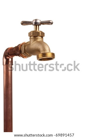 Bronze faucet attached to the water system of copper pipes.