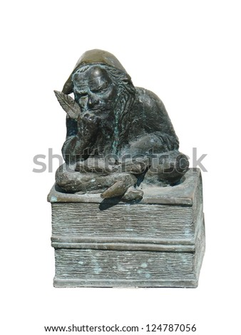 Bronze gnome sculpture (dwarf reading, krasnale) in Wroclaw, Poland, isolated on white - stock photo