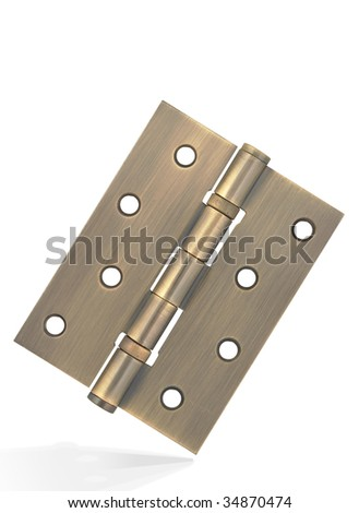 Bronze hinge with metal texture,isolated on white with clipping path.
