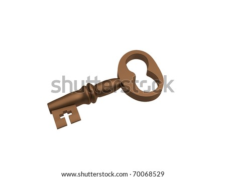 Bronze key on a white background