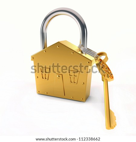 Bronze lock - house shape symbol over white background - stock photo