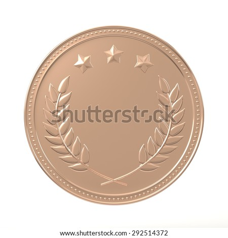 Bronze medal with laurels and stars. Round blank coin with ornaments. Victory, best product, service or employee, third place concept. Achievement in sports. Isolated on white background. - stock photo