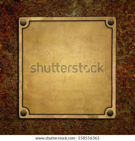 Bronze nameplate on rusty metal - stock photo