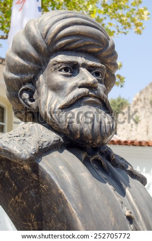 Bronze of the Turkish leader Hayreddin Barbarossa (c1483 - 1546).  Admiral and Pasha, responsible for many Ottoman naval victories. Public monument overlooking the harbour in Antalya, Turkey. - stock photo