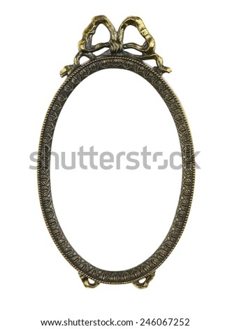 Bronze Picture Frame with Bow - stock photo