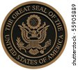 bronze plaque the great seal of the united states - stock photo