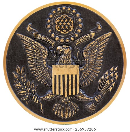bronze plaque the great seal of the us - stock photo