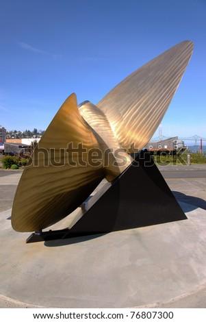 Bronze propeller, Astoria Oregon. - stock photo