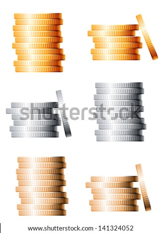 Bronze, silver and gold stacks of coins isolated on white background. Vector version also available in gallery - stock photo