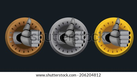 Bronze, silver, gold, raster cyborg thumb up rating icons on black background - stock photo