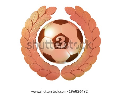 Bronze soccer ball with the number 3 in a Laurel wreath - stock photo