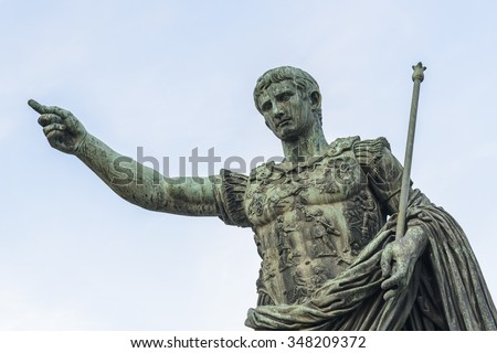 Bronze statue of Augustus, the first emperor of Rome and father of the nation, Rome, Italy, Europe - stock photo