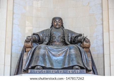 bronze statue of Chingiis Khaan Mongolian Emperor - stock photo