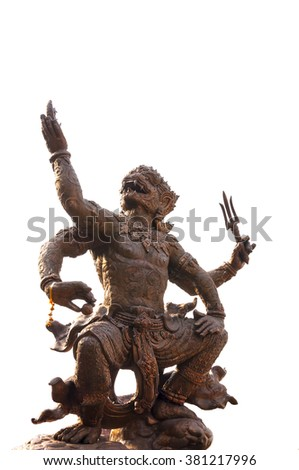 Bronze statue of Hanuman   isolated on white background