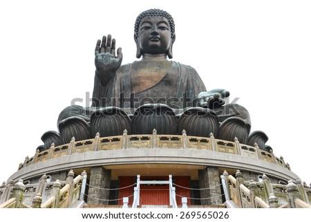 Bronze statue of the Tian Tan Buddha ( Big Buddha ) isolated on white background - stock photo