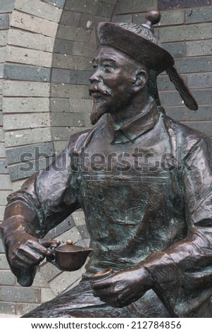 Bronze Statues in the city of Guilin China telling a story of the history of Guilin. - stock photo