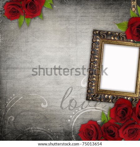 Bronzed vintage frame on old grunge background  with red roses (1 of set) - stock photo
