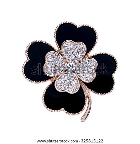 brooch flower isolated on white - stock photo