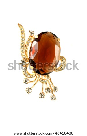 brooch isolated on a white back - stock photo