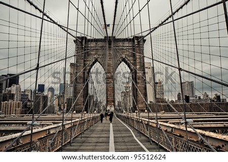 Brooklyn bridge and cable pattern in cloudy day - stock photo