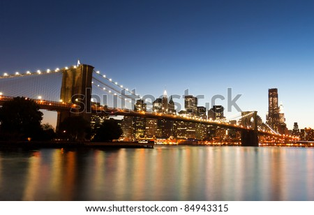 Brooklyn Bridge and Financial District at twilight