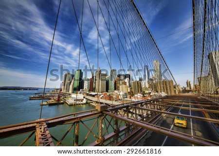 Brooklyn Bridge and Financial District, New York - stock photo