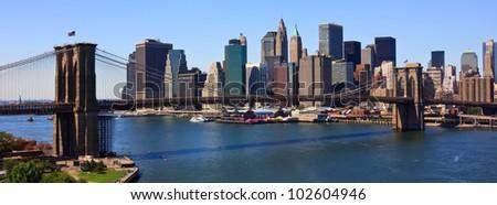 Brooklyn Bridge and lower Manhattan, New York - stock photo