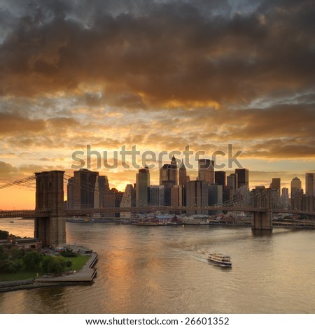 Brooklyn Bridge and Manhattan - stock photo