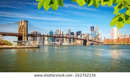 Brooklyn bridge and Manhattan, New York City - stock photo