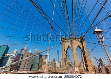 Brooklyn Bridge and Manhattan New York City US USA - stock photo