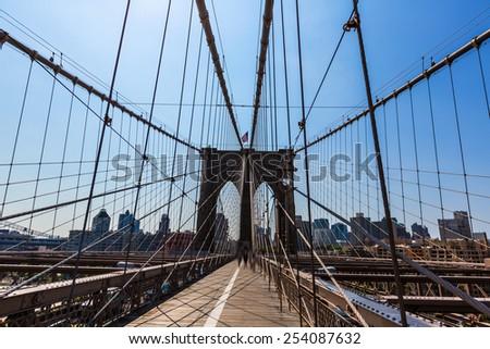 Brooklyn Bridge and Manhattan New York City US USA - stock photo