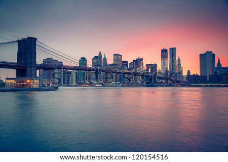 Brooklyn bridge at dusk, New York City - stock photo