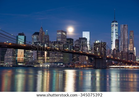 Brooklyn bridge at night, New York City - stock photo