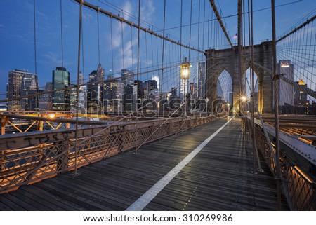 Brooklyn Bridge at sunrise, New York. - stock photo