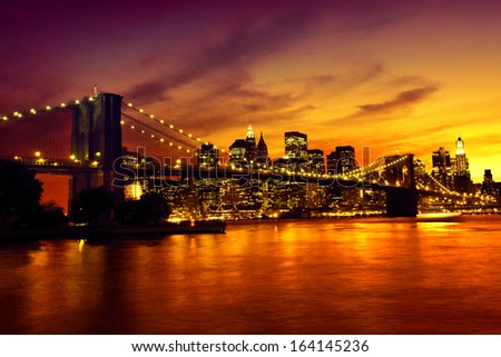 Brooklyn Bridge at sunset, New York - stock photo