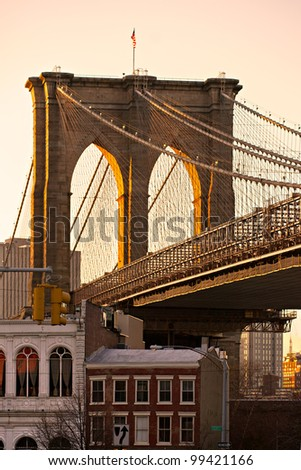 Brooklyn bridge at sunset, New York City, USA. - stock photo