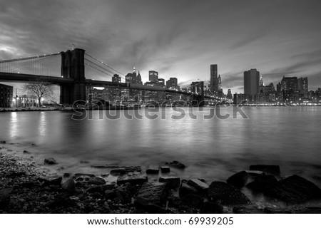 Brooklyn bridge black and white - stock photo