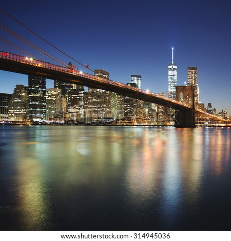 Brooklyn bridge by night - stock photo