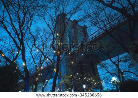 Brooklyn bridge by night - stock photo