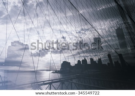 Brooklyn bridge, double exposure - stock photo