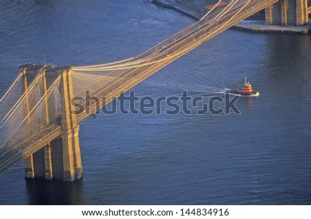 Brooklyn Bridge from above, Manhattan, New York City, NY - stock photo